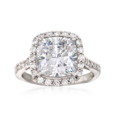 5.10 ct. t.w. CZ Halo Ring in Sterling Silver, , default