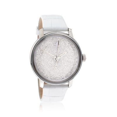 Swarovski Crystal Crystalline Hours Women's Stainless Steel Watch with Crystals and White Leather