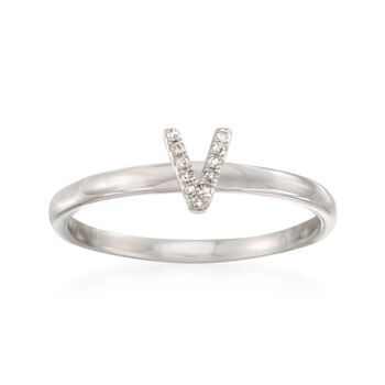 """Diamond Accent Mini Initial """"V"""" Ring in Sterling Silver, , default"""
