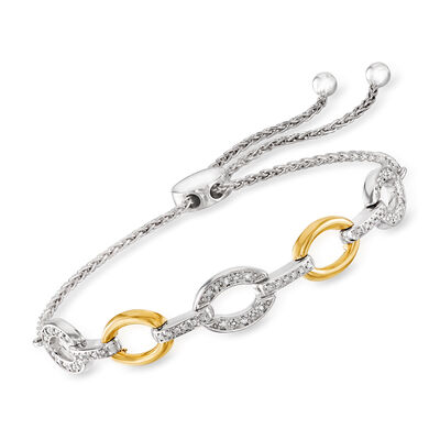 .25 ct. t.w. Diamond Link Bolo Bracelet in Sterling Silver and 14kt Yellow Gold
