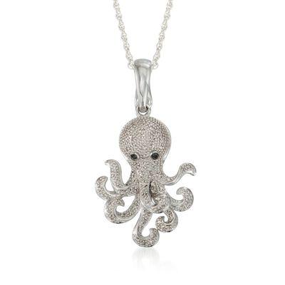 .15 ct. t.w. Diamond Octopus Pendant Necklace in Sterling Silver, , default