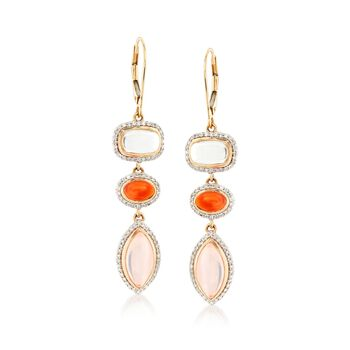 Cabochon Multi-Stone and .67 ct. t.w. Diamond Drop Earrings in 14kt Yellow Gold, , default