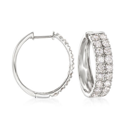 3.00 ct. t.w. Double-Row Diamond Hoop Earrings in 14kt White Gold, , default