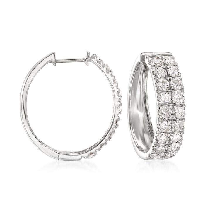 """3.00 ct. t.w. Diamond Double-Row Hoop Earrings in 14kt White Gold. 3/4"""""""