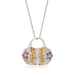 "C. 2000 Vintage 1.40 ct. t.w. Multi-Stone and .25 ct. t.w. Diamond Handbag Charm Necklace in 14kt White Gold. 18"", , default"