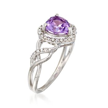 1.10 Carat Amethyst Heart Ring With Diamond Accents in Sterling Silver, , default