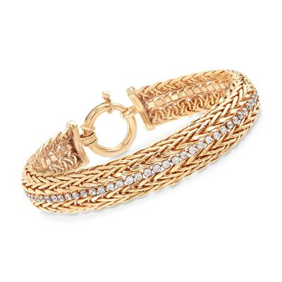 1.40 ct. t.w. CZ Two-Row Wheat Chain Bracelet in 18kt Gold Over Sterling, , default