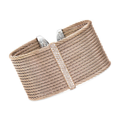 "ALOR ""Classique"" .56 ct. t.w. Diamond Blush Cable Cuff Bracelet in Stainless Steel with 18kt Rose Gold"