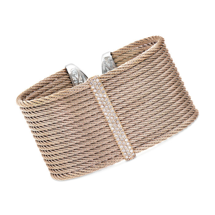"""ALOR """"Classique"""" .56 ct. t.w. Diamond Blush Cable Cuff Bracelet in Stainless Steel with 18kt Rose Gold. 7"""", , default"""