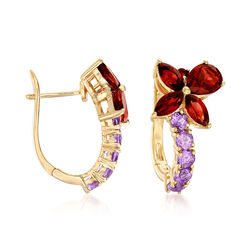 3.19 ct. t.w. Garnet and .90 ct. t.w. Pink Amethyst Drop Earrings in 18kt Gold  Over Sterling, , default