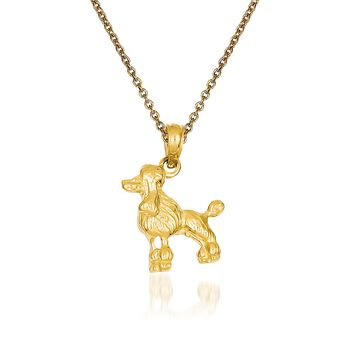 """14kt Yellow Gold Poodle Pendant Necklace. 18"""", , default"""