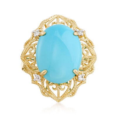 Sleeping Beauty Turquoise Filigree Ring with Diamond Accents in 14kt Yellow Gold, , default