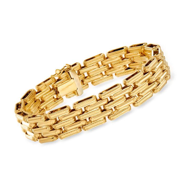 "Italian 18kt Yellow Gold Link Bracelet. 7.25"""