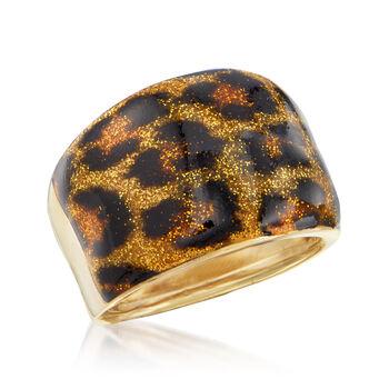 Italian Leopard Print Enamel Dome Ring in 14kt Yellow Gold, , default