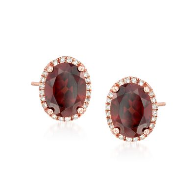 4.60 ct. t.w. Garnet and .15 ct. t.w. Diamond Stud Earrings in 14kt Rose Gold, , default