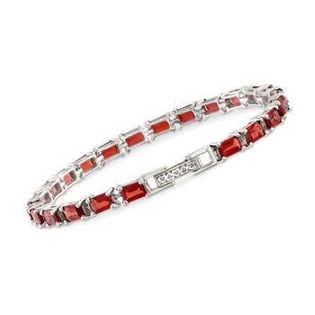 """16.00 ct. t.w. Emerald-Cut Garnet Tennis Bracelet in Sterling Silver. 7.5"""", , default"""