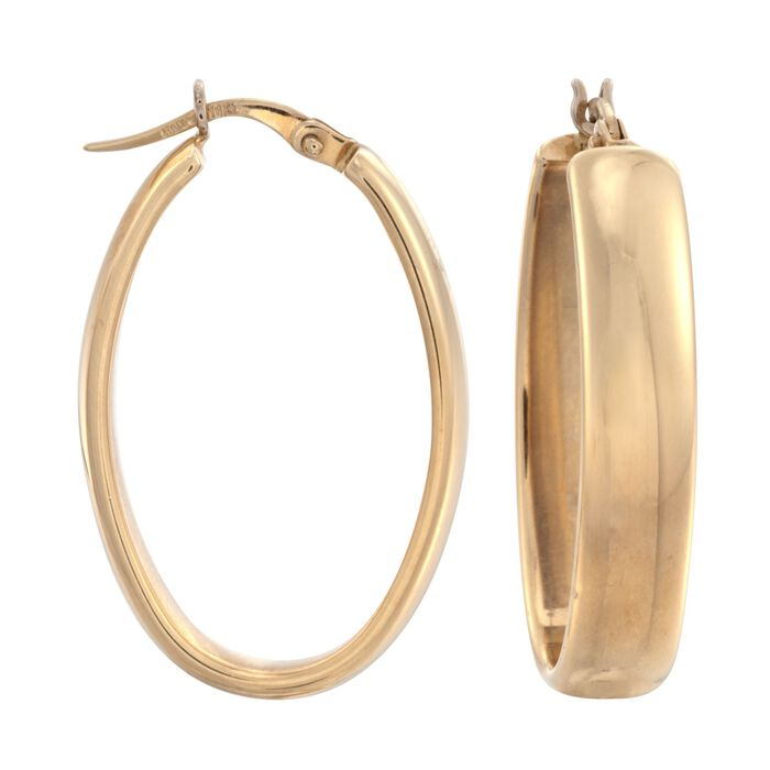 "Roberto Coin ""Wedding Band"" 18kt Yellow Gold Oval Hoop Earrings. 1 1/4"", , default"