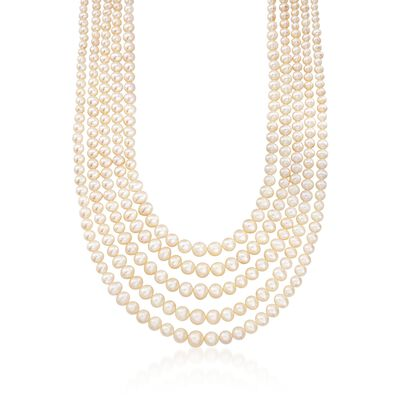 4-8.5mm Cultured Pearl Five-Strand Layered Necklace with Sterling Silver, , default