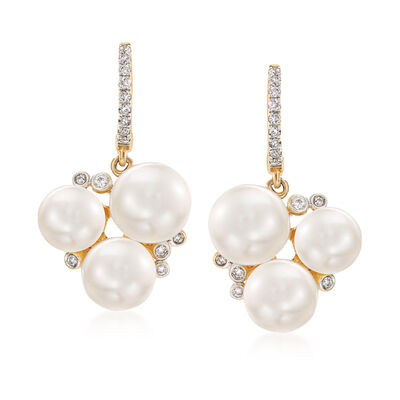 6-8.5mm Cultured Pearl Cluster Drop Earrings with .21 ct. t.w. Diamonds in 14kt Yellow Gold, , default