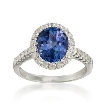 2.80 Carat Tanzanite and .65 ct. t.w. Diamond Ring in 14kt White Gold, , default