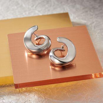 """Italian Sterling Silver Swirl Hoop Earrings. 7/8"""""""