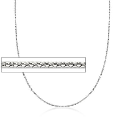 1.2mm 14kt White Gold Adjustable Popcorn Chain Necklace