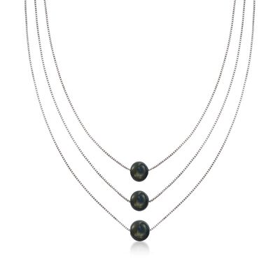 9-9.5mm Black Cultured Pearl Layered Three-Strand Necklace in Sterling Silver, , default