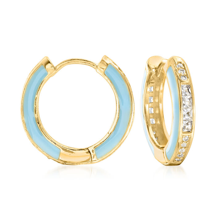 1.30 ct. t.w. White Topaz and Blue Enamel Hoop Earrings in 18kt Gold Over Sterling