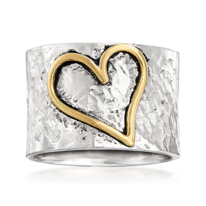 Sterling Silver and 14kt Yellow Gold Heart Ring