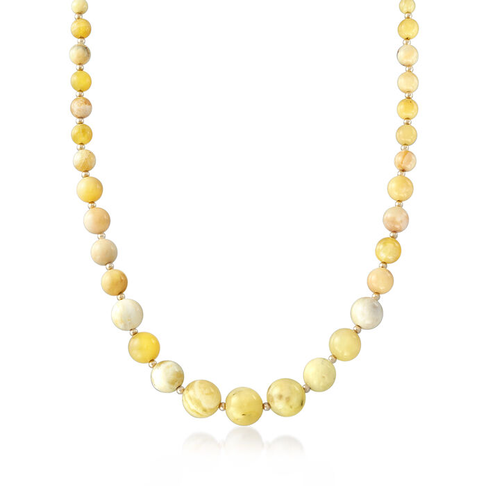 Yellow Opal Graduated Bead Necklace in 14kt Yellow Gold. 20""