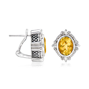 "Andrea Candela ""Fleur De Lis"" 4.82 ct. t.w. Citrine Earrings in Sterling Silver"