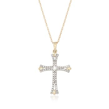 """.12 ct. t.w. Diamond Cross Pendant Necklace in 14kt Yellow Gold. 18"""", , default"""