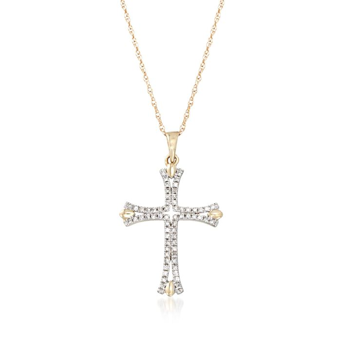 ".12 ct. t.w. Diamond Cross Pendant Necklace in 14kt Yellow Gold. 18"", , default"