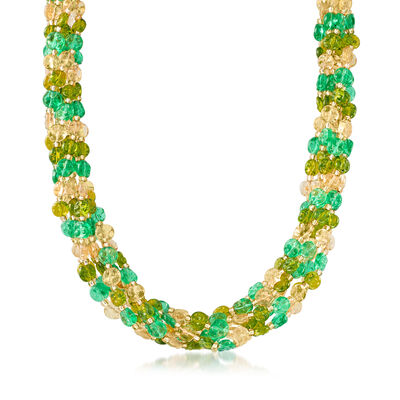 Italian Murano Glass Bead Torsade Necklace in 18kt Gold Over Sterling, , default