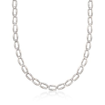 Italian Sterling Silver Rectangular Link Necklace, , default