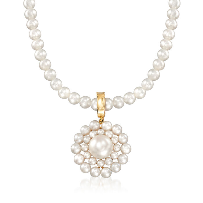 """2-9mm Cultured Pearl Circle Pendant Necklace in 14kt Yellow Gold. 18"""", , default"""