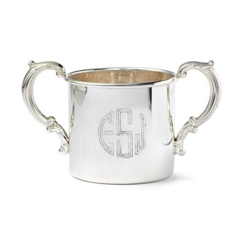 Baby's Sterling Silver Personalized Floral Double-Handled Cup, , default