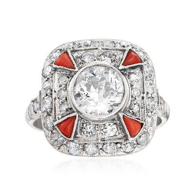 C. 1960 Vintage Orange Jade and 1.85 ct. t.w. Diamond Ring in 18kt White Gold, , default