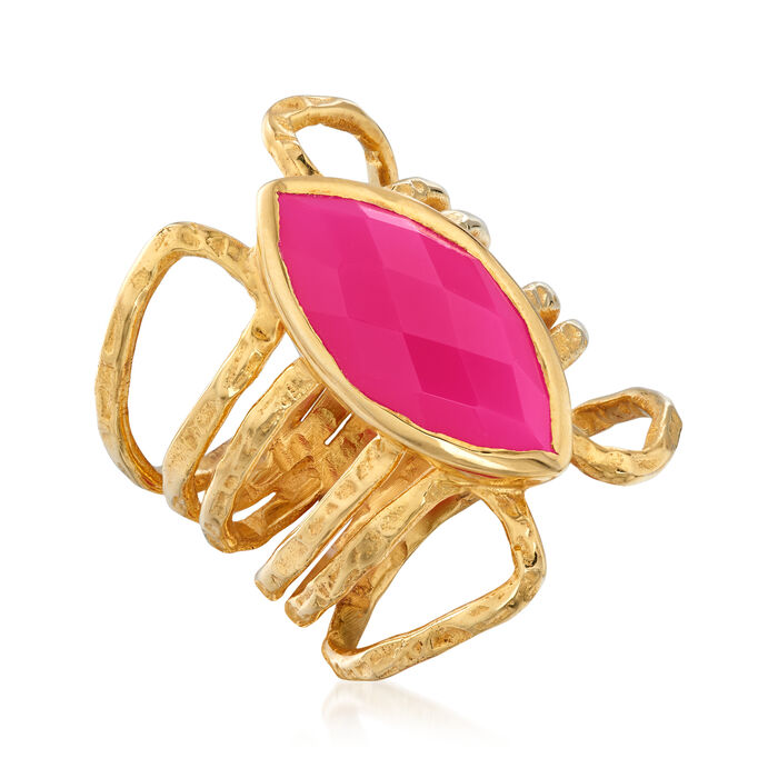 9x18mm Pink Agate Ring in 18kt Gold Over Sterling
