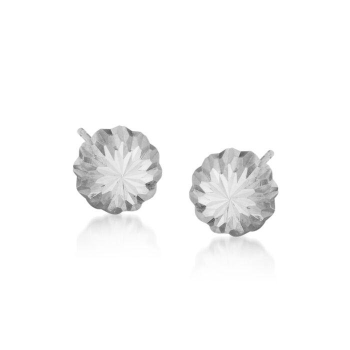 14kt White Gold Stud Earrings, , default