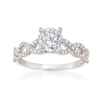 .21 ct. t.w. Diamond Crisscross Engagement Ring Setting in 14kt White Gold