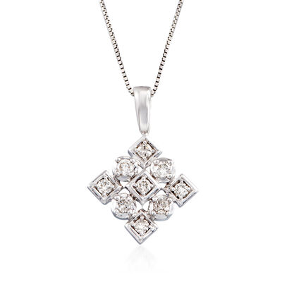 .25 ct. t.w. Diamond Square Pendant Necklace in 14kt White Gold, , default