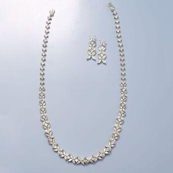 4.80 ct. t.w. CZ Floral Earrings in Sterling Silver