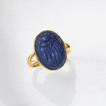 Lapis Scarab Ring in 14kt Gold Over Sterling