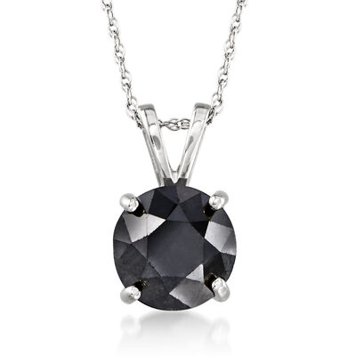 2.00 Carat Black Diamond Solitaire Necklace in 14kt White Gold , , default