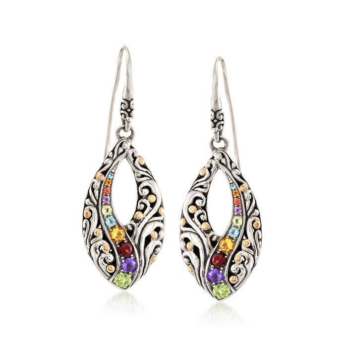 1.10 ct. t.w. Multi-Stone Marquise Drop Earrings in Sterling Silver and 18kt Yellow Gold , , default