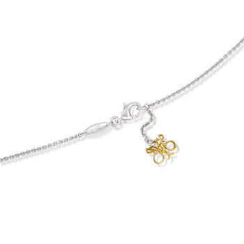 """C. 1990 Vintage Jessica Fong .80 ct. t.w. Diamond Flower Drop Necklace in 14kt Two-Tone Gold. 18"""", , default"""