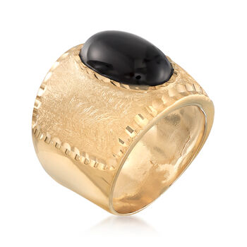 Italian Oval Black Onyx Multi-Finished Ring in 18kt Gold Over Sterling