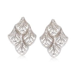 Italian Sterling Silver Openwork Leaf Earrings, , default
