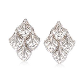 Italian Sterling Silver Openwork Leaf Earrings, , default